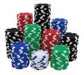 Large stacks of casino chips isolated on white Stock Image
