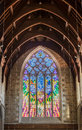 Large stained window of Saint Davids Cathedral, Hobart Australia Royalty Free Stock Photo