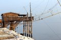 Large stilt house near the sea and fishing nets ner of fishermen Stock Images