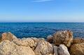 Large stones on the seashore. Royalty Free Stock Photo