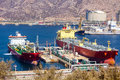 Large tankers unloading crude oil a Stock Photos