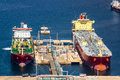 Large tankers unloading crude oil a Royalty Free Stock Photography