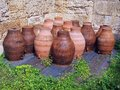 Large terracotta urns pots stored upside down athens greece Stock Image