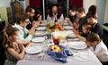 Large Thanksgiving Dinner Turkey Family Prayer Royalty Free Stock Photo