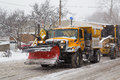 Large truck with snowplow and grit toronto canada th december in toronto a fitted holding in the rear Stock Photography