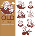 Large vector collection of happy old people portraits