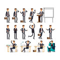 Large vector set of businessman character poses