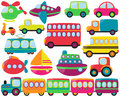 Title: Large Vector Set of Cute Transportation Vehicles