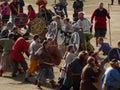 Large Viking battle reenactment at icelandic viking festival in Hafnarfjoerdur. Editorial. Two armies fighting in Royalty Free Stock Photo