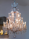 Large vintage crystal chandelier lamp indoors Royalty Free Stock Images