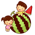 Large watermelon and Brother and Sister Mascot. Home and Family Stock Photo