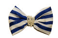Large white bow with blue stripes with beads Royalty Free Stock Photo