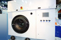 Large white modern industrial washing machine at special presentation Stock Photography