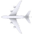 Large white plane isolated render in lines Stock Photo