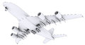 Large white plane isolated render in lines Royalty Free Stock Photography