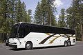 Large White Tour Bus In Forest Parking Lot Royalty Free Stock Photo
