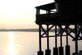 Large wooden stilt house on the seashore Royalty Free Stock Photo
