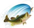 Largemouth bass catching bite jumping water spray layered illustration Stock Image