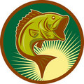 Largemouth bass fish jumping Royalty Free Stock Photography