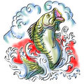 Largemouth bass jumping Royalty Free Stock Image