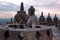 The largest Buddhist temple Borobudur in Java at sunrise time. Royalty Free Stock Photo