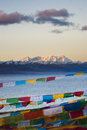 The largest lake in tibet nam co china sunset Royalty Free Stock Image