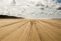 Largest sand island in the world main road around Stock Images