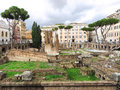 Largo argentina in rome ancient ruins at italy Royalty Free Stock Image