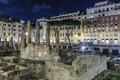 Largo di torre argentina rome night view of italy Stock Photography