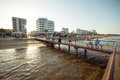 LARNACA, CYPRUS - AUGUST 16, 2015: Locals and tourists at Castle square pier Royalty Free Stock Photo