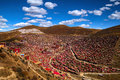 Larong wuming buddhist academy seda monastery or world's largest tibetan institute situated in larung valley seda Royalty Free Stock Image