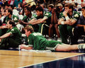Larry bird boston celtics rests his ailing back image from a color slide Stock Photography