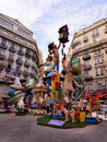 Las fallas papermache models displayed traditional celebration praise st joseph march valencia spain Royalty Free Stock Photography