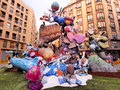 Las fallas papermache models displayed traditional celebration praise st joseph march valencia spain Stock Photography