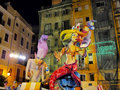 Las fallas papermache models displayed traditional celebration praise st joseph march valencia spain Royalty Free Stock Photos