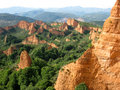 Las médulas leon spain medulas is a wonderful landscape maked from golden mountains and green trees it is an old mine erode by Royalty Free Stock Photography