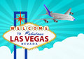 Las vegas and airplane illustration of signal with Royalty Free Stock Photo