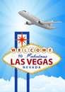Las vegas and airplane illustration of signal with Stock Photos