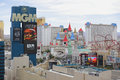 Las vegas architecture and big apple roller coaster august elevated image of including a miniature statue of liberty was Stock Image