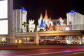 Las vegas hotels and strip main street at night with blurred tra trafic lights horizontal image Royalty Free Stock Images