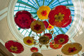 Las vegas nevada usa august view of parasols suspended fr from the ceiling the bellagio hotel in on Royalty Free Stock Photos