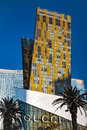 Las vegas nevada usa august view at sunrise of apartment blocks behind the gucci building in on Stock Image