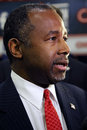 Las vegas nv dec closeup profile of dr ben carson retired neurosurgeon and republican presidential candidate s speaks in the spin Stock Photography