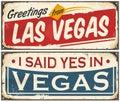 Las Vegas retro tin sign design set Royalty Free Stock Photo