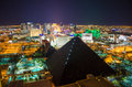 Las vegas strip by night with the luxor hotel in the foreground Royalty Free Stock Image