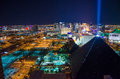 Las vegas strip by night with the luxor hotel in the foreground Stock Photography