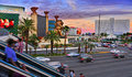 Las vegas strip at sunset las vegas united states us october on october in us of the largest hotels in the world are on the Royalty Free Stock Images