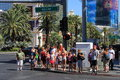 Las vegas tourists and sightseers on the famous strip in Royalty Free Stock Photography
