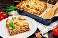 Lasagna in baking dish Royalty Free Stock Photo