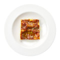 Lasagna bolognese italian recipe plate isolated Stock Image